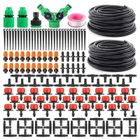Garden Automatic Drip Irrigation Set,30M Adjustable Mini DIY Irrigation Kit,1/4 inch Heavy Duty Tube Watering Kit for Patio Lawn
