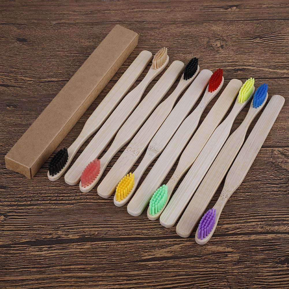 10pcs Eco Friendly Bamboo Toothbrush Medium Bristles Biodegradable Oral Care Adults Toothbrushes image