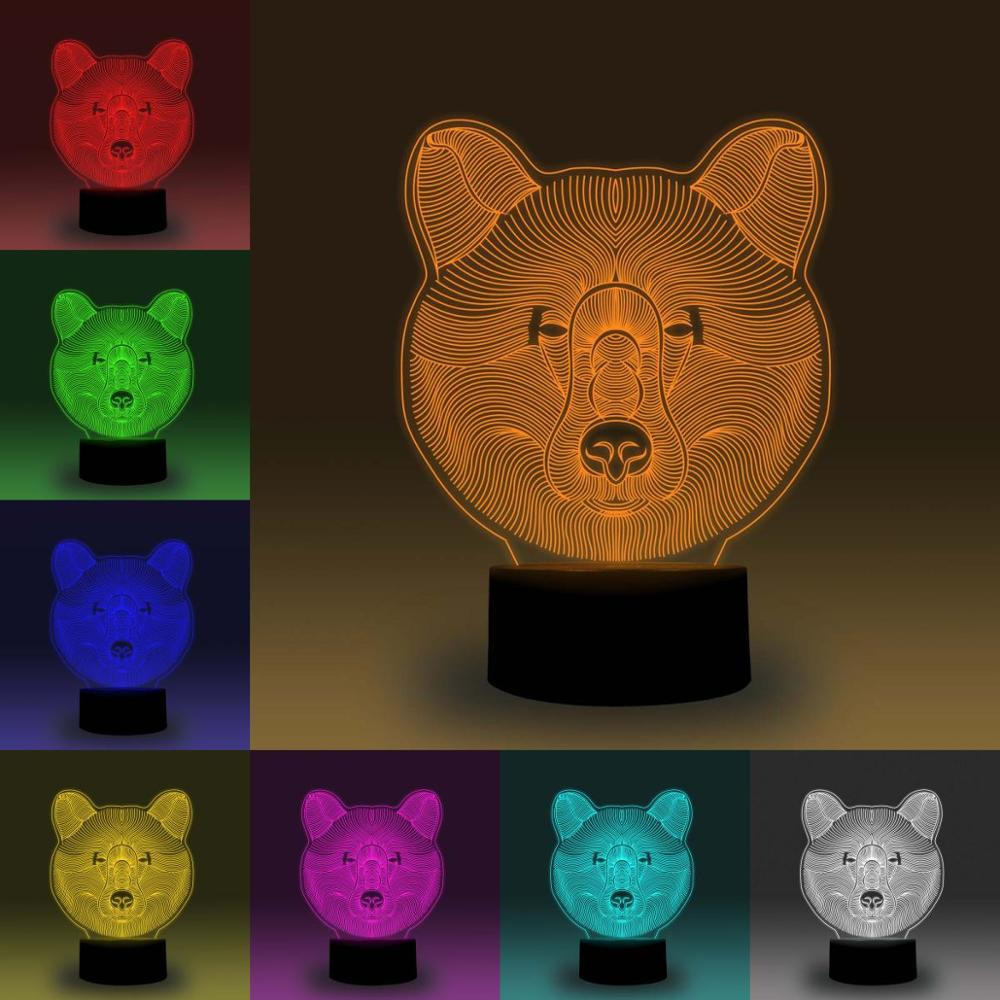 NiteApps 3D Bear Head LED Night Light Desk Table Illusion Lamp Holiday Birthday Gift APP/Touch Control