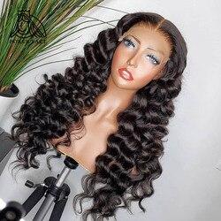 28 30 polegadas de onda solta 13x4 perucas dianteiras do laço pré arrancadas com o cabelo do bebê cabelo humano brasileiro perucas frontais do laço longo remy