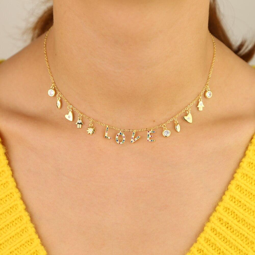 2019 trendy charm 925 sterling silver letter LOVE pendant necklace star heart sun eye dangle choker for women girl party jewelry