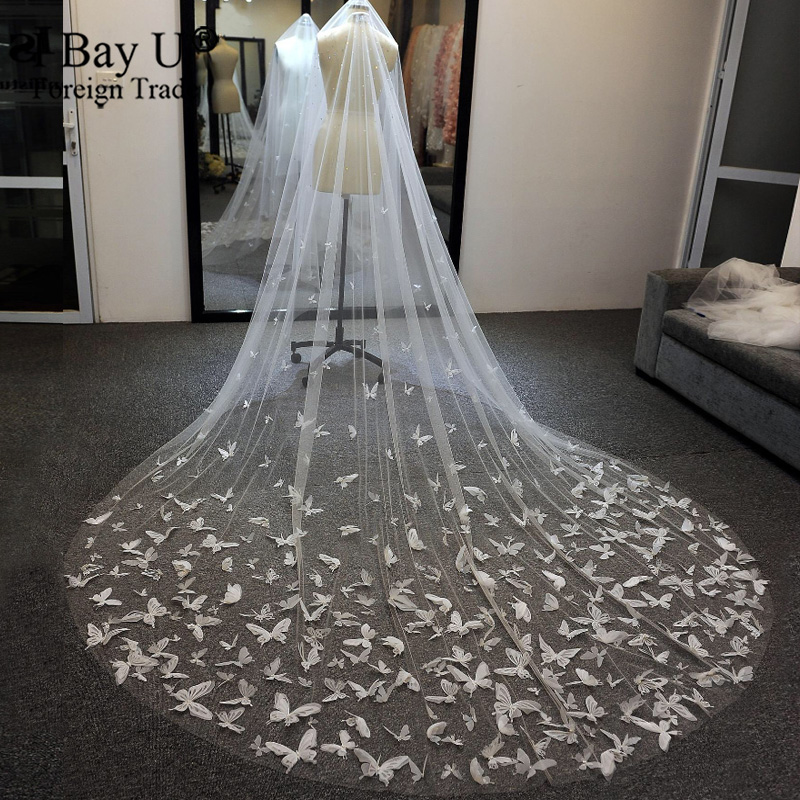 Sparkle Pearl Rhinestone Butterfly Drop Wedding Veil Crystal Custom Cathedral Veil For Bridal 3D Butterfly Wedding Veils White