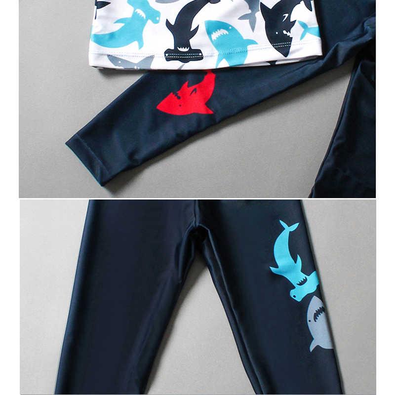 نماذج جديدة 2-12 Y قديم بنين طفح الحرس 2 قطعة ملابس السباحة الضوء الأزرق و دولفين طباعة الأطفال السباحة طويلة الأكمام ثوب السباحة