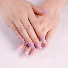 24pcs Long Style Ballet Water Color ABS Resin Material Wearable Fake Nails Woman
