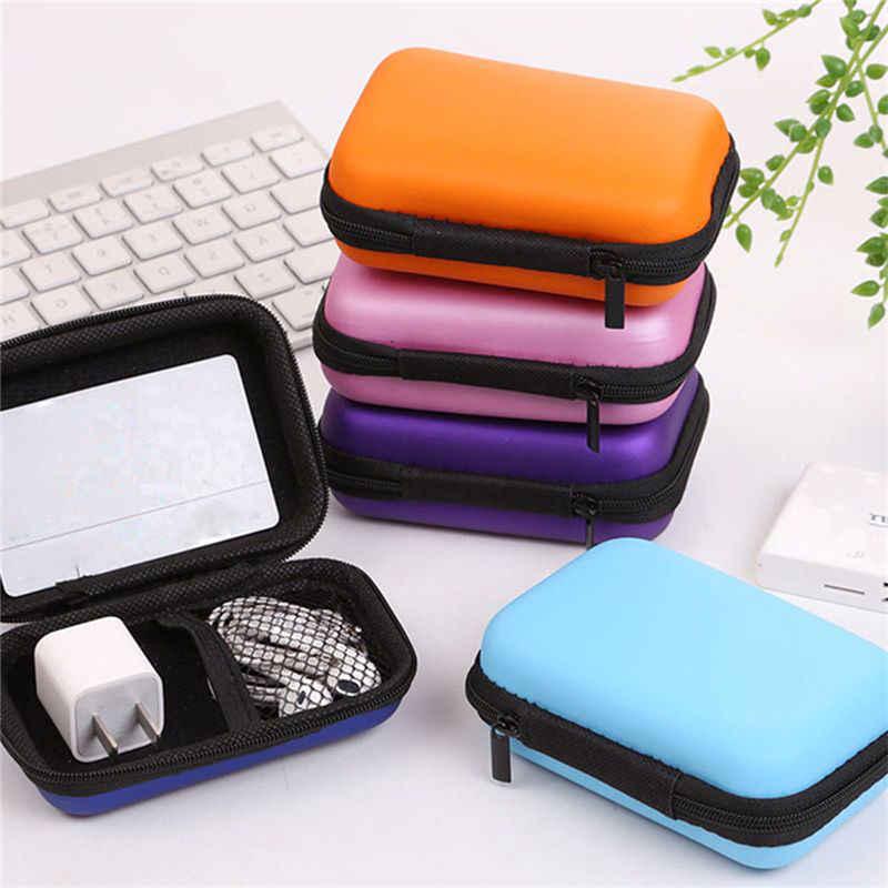 Mehrere Farbe Tragbare Fall Für Kopfhörer Mini Reißverschluss Runden Lagerung Schwerer Tasche Headset Box SD TF Karten Speicher Tasche Münze geldbörse