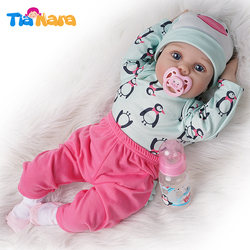55cm Reborn Baby Doll Girl Silicone Vinyl Light Green and Dark Pink Outfit
