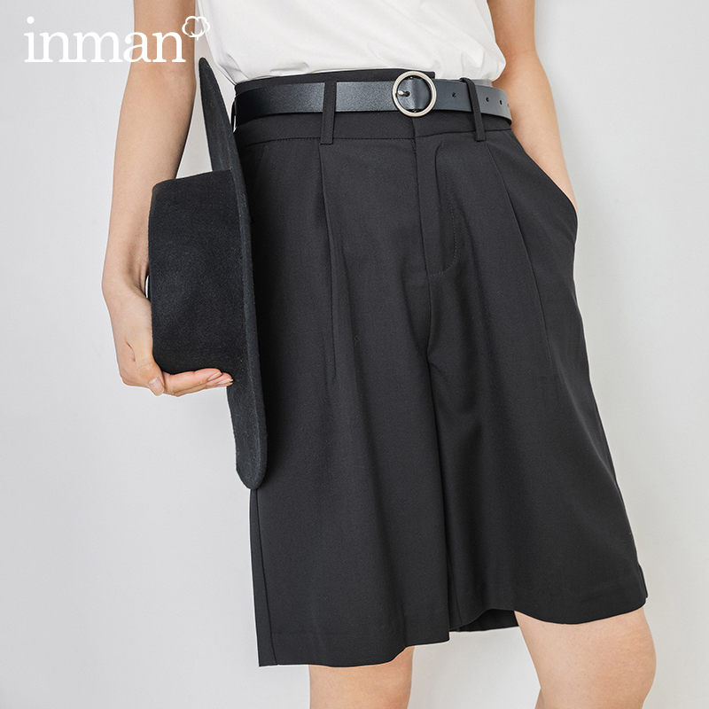 INMAN Office Style 2020 Summer New Arrial High Waist Fold Slimmed Loose Shorts