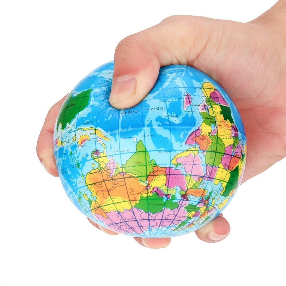 New Stress Relief Decor World Map Foam Ball Atlas Globe Palm Planet Earth Ball Squeeze Toy Anti-stress Toys For Children