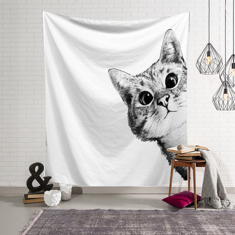 Nordic Style Wall Cloth Tapestries Cats And Girl 3D Printed Art Wall Hanging Tapestry Bedroom Decoration Yoga Mat Throw Blanket