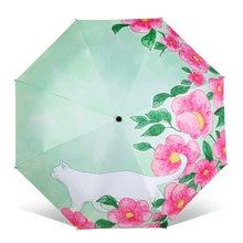 Moda arte ilustração dos desenhos animados gato & flor sol guarda-chuva 4 dobrável espessamento 8 costela guarda-sol feminino guarda chuva
