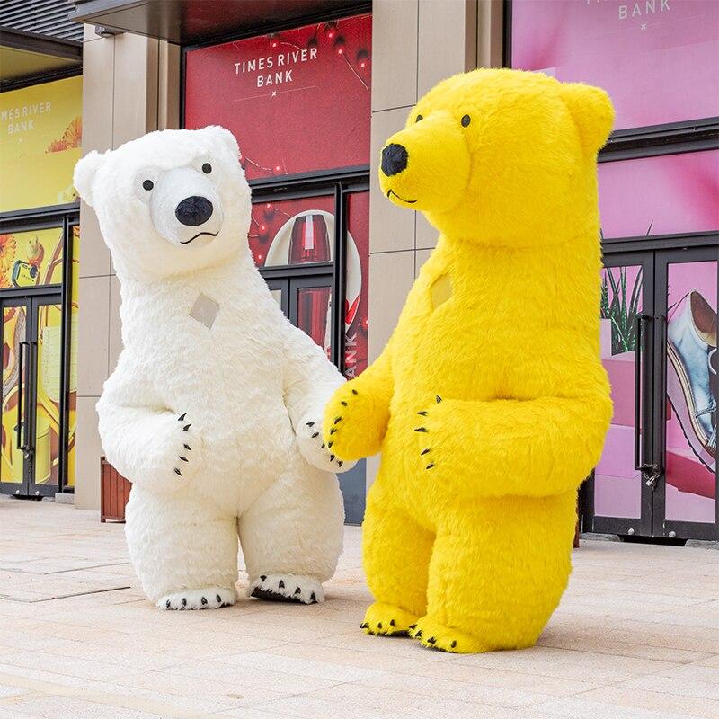 3m branco urso polar Do Traje Da Mascote Para Adulto Fantasia de Urso Polar Inflável Publicidade Para Fantasias Homem Personalizar Alto Curto
