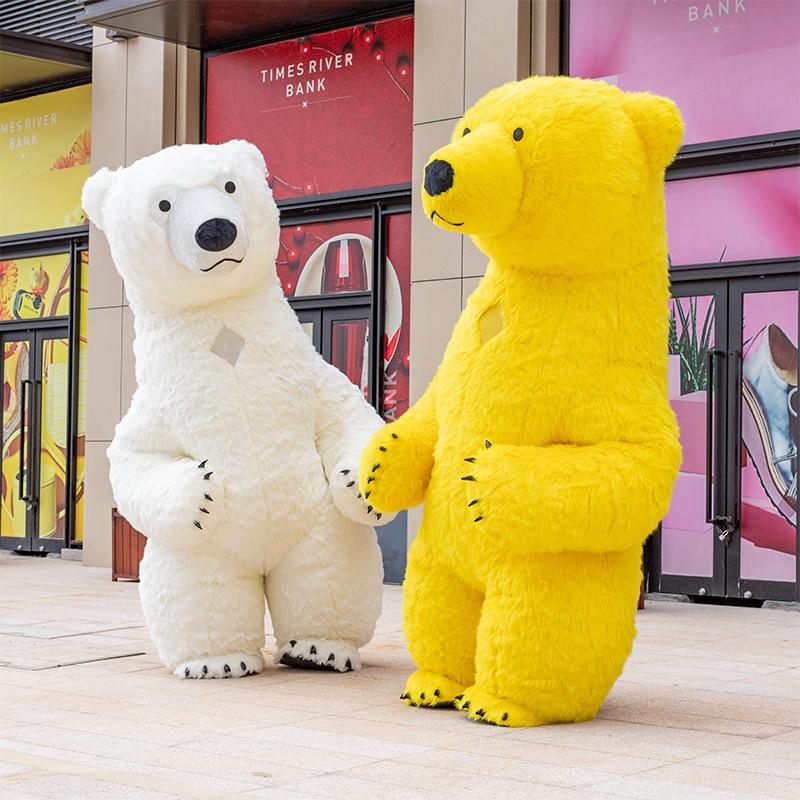3m white polar bear Mascot Costume For Adult Inflatable Polar Bear Advertising Fantasias Homem Customize Tall Short