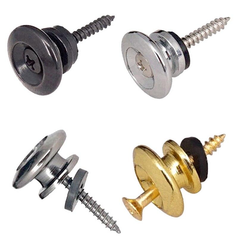 2Pcs/Pair Replacement Guitar Strap Locks Parts Chrome Belt Lock Buttons Buckle Guitar Accessories Gold Silver Black Color