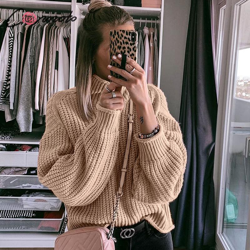 Pullovers de invierno Conmoto suéter de punto para mujer suéteres casuales Jumper sólido caqui femenino cuello alto suéter tejido Pull Femme