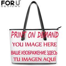 Forudesigns New Women Shoulder Tote Handbag Customize Image/Logo Luxury PU Hand