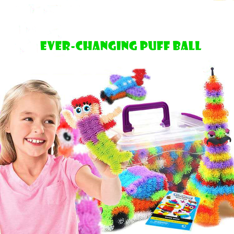 1200pcs Double Hook Puff Ball Assemble Toy DIY 3D Puzzle For Kids Children Educational Creative Model Gift Squeezed Toy
