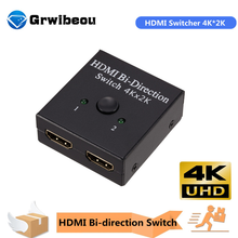 Сплиттер Grwibeou HDMI 4K переключатель KVM двунаправленный 1x 2/2x1 HDMI-совместимый переключатель 2 в 1 для PS4/3 ТВ-приставки переключатель адаптер