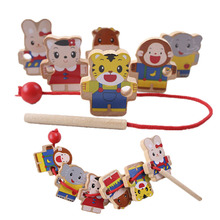 Wearing Beads Beaded Toys Baby Wooden Toy Montessori Educational DIY Toy Cartoon Animal Stringing Threading Wooden Toy For Kids