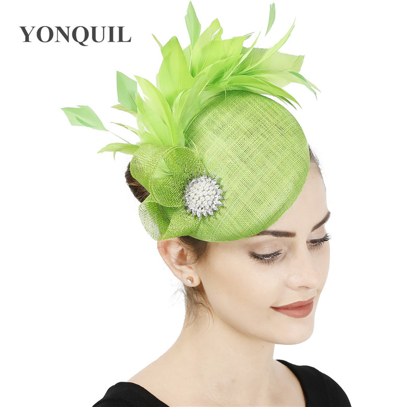 High Quality 4-layer Nice Sinamay Women Fascinator Wedding Hat Gorgeous Ladies Formal Evening Party Headpiece With Heaband Caps