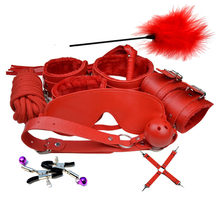 Black Pink Pueple Red Leather Plush Erotic BDSM Sex Kits Bondage Handuffs Sex Whip Nipple Clamps Erotic Sex Toys For Adult Game(China)