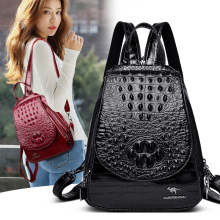 YILIAN female backpack, teenage large capacity crocodile backpack ZW039