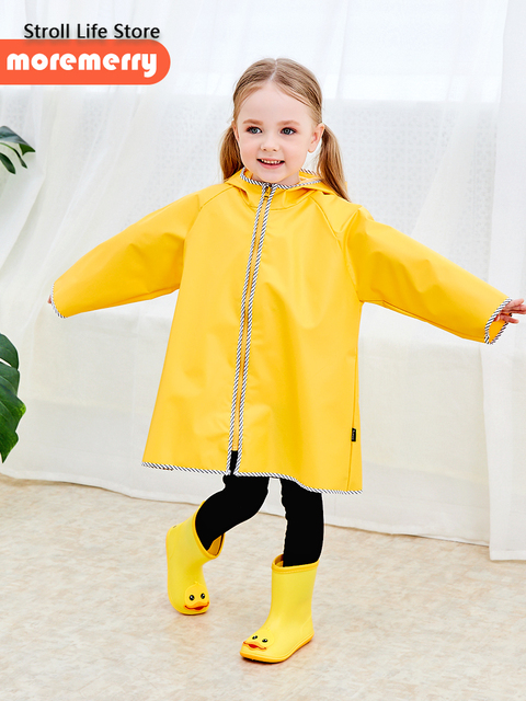 Cute Yellow Raincoat Kids Waterproof Rain Poncho Rain Coat Plastic Suit School Thick Boys Rain Jacket Cover Impermeable Gift