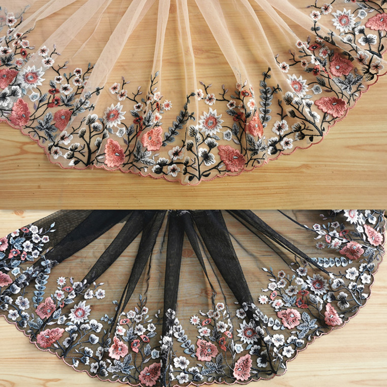20cm 7.87inch wide-3yardslot Pink Embroidered Tulle Lace Trim for Garment Decoration,Lovely Embroidery Mesh Lace Trim