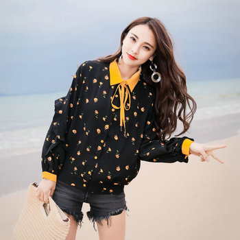 Spring Woman Casual Flower Shirt Yellow Green Bowknot Turn Down Collar Patchwork Ruffle Long Sleeve Design Chiffon shirts Women men long sleeve solid color pure cotton oxford shirts vestido high quality single breasted turn down collar shirts cloth spring