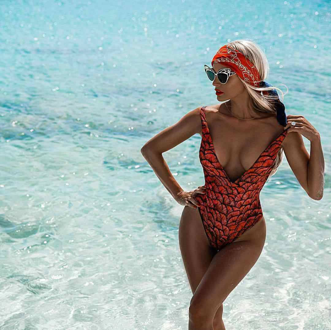Donne Sexy Abiti Monopezzo Costume da Bagno Costumi da Bagno Push-Up Monokini Bikini Costume da Bagno di Estate Profondo Scollo a V Stampa Stringa Fasciatura Backless