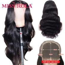 Волнистые человеческие волосы Miss Rola на сетке 4*4, парики с эффектом омбре 99J, бордовые, блонд, бразильские волосы без повреждений, плотность 150%...