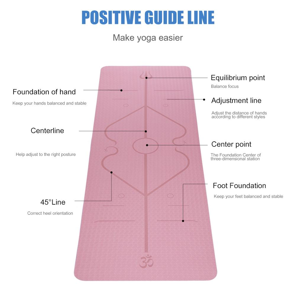 Non-Slip TPE Yoga Mat With Position Line 18