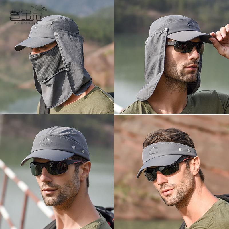 Outdoor Baseball Quick Drying Sun Protection Hat Protect Face Neck Fishing Cycling Climbing Men Removable Hat Women Sun Cap(China)