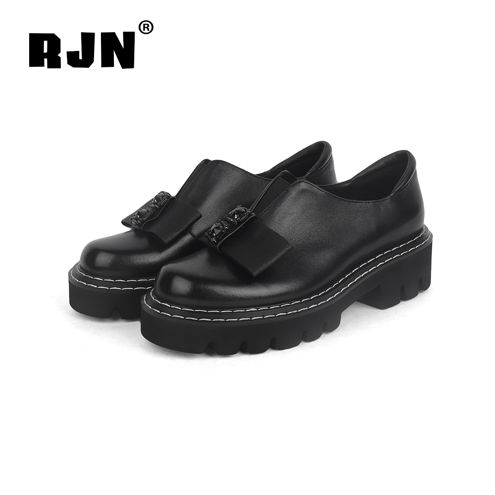 Promo RJN Black Women Pumps Butterfly-Knot Decoration Slip-On Comfortable Round Toe Square Heel Shoes Genuine Leather Pumps New R03