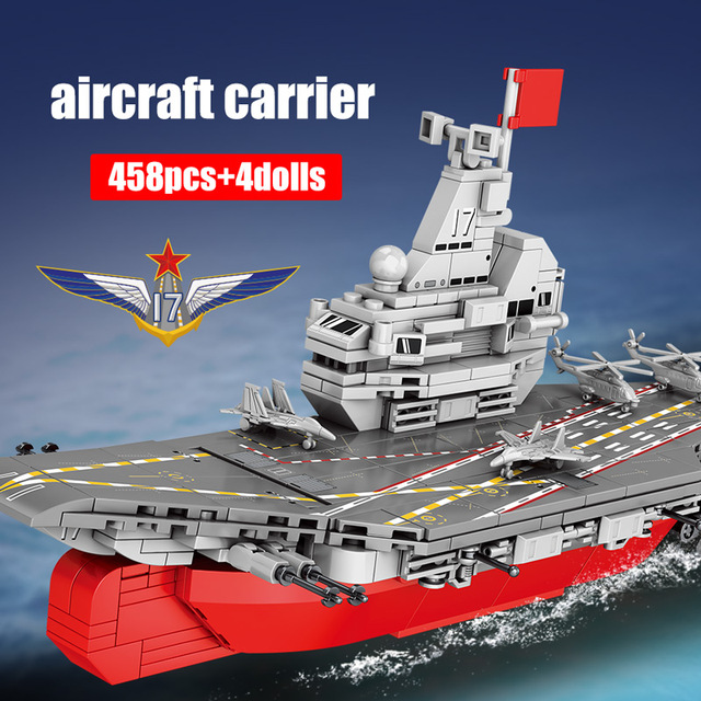 458PCS Creator City Police Technic Navy Boat Aircraft Military Warship Ship WW2 Building Blocks Figures Bricks Toys for Children