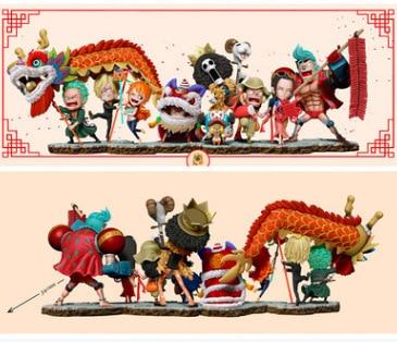 Une pièce nouvel an Lion danse Luffy Sauron Sanji Na Mae Jo Bau savon Brooke français Garage Kit