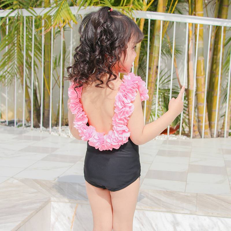 Korean-style New Style Children Parent And Child Flower One-piece Swimming Suit 2-9-Year-Old Girls Baby Cute Hat Swimwear