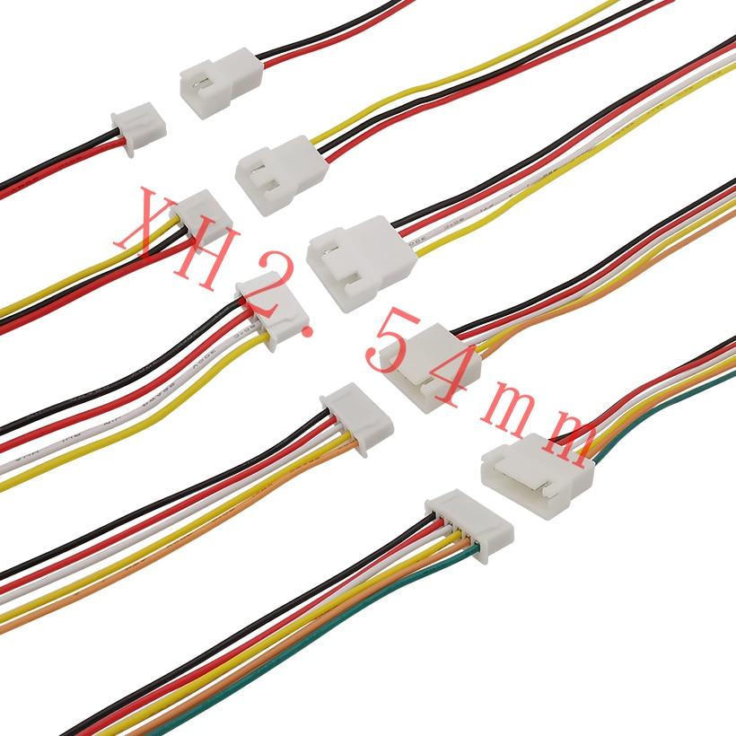 JST XH 2,54 мм 2-контактный, 3-контактный, 4-контактный, 5-контактный, 6-контактный штекер, гнездовой разъем, провод, коннектор JST XH2.54, шаг 2,54 мм, 20 см, к...