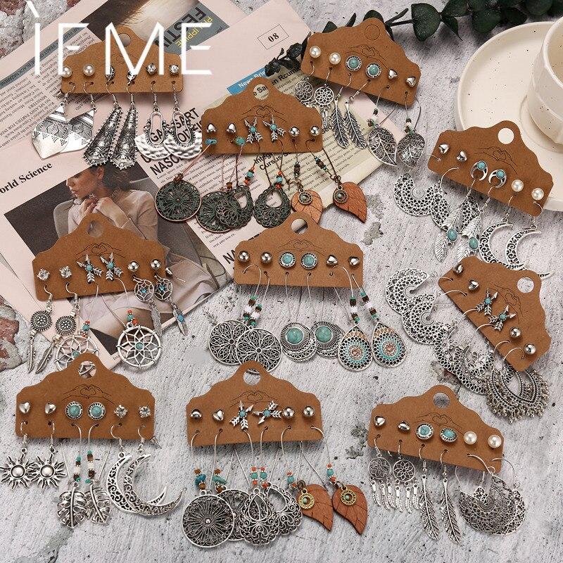 Комплект женских серег-подвесок IF ME, винтажные этнические серьги в стиле бохо, металлические сережки серебристого цвета с деревянными кист...