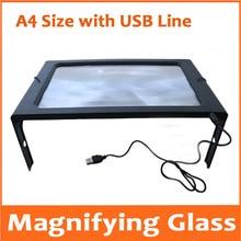 A4 размер USB светодиодный настольный лупа для чтения лупа Лупа с подсветкой Лупа с лампами для пожилых людей настольная Лупа