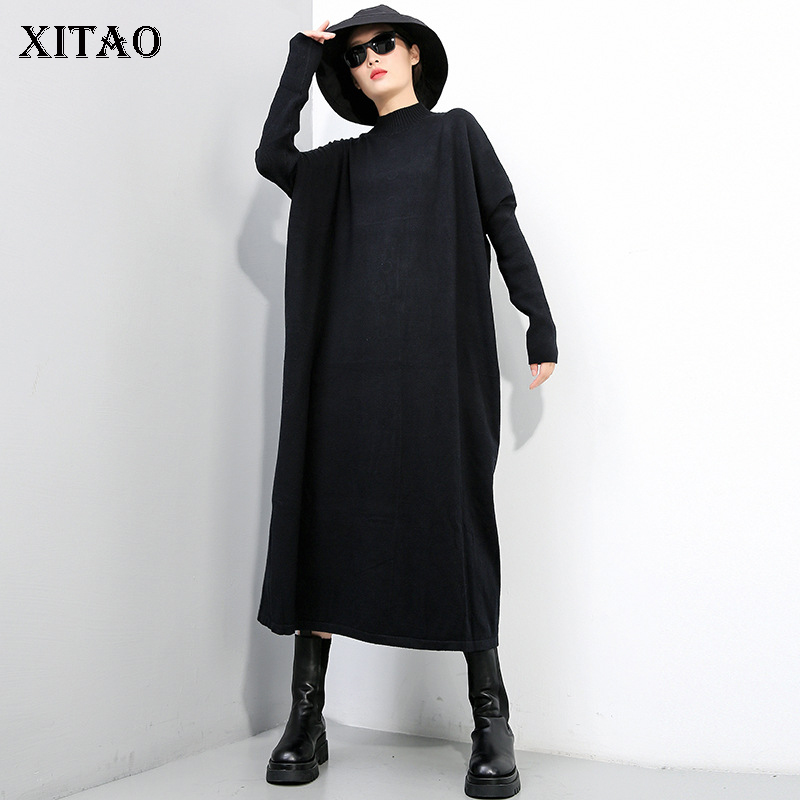 XITAO Knitted Sweater Fashion New Women Pleated Pullover Goddess Fan Elegant 2020 Winter Casual Style Loose Sweater ZY1430