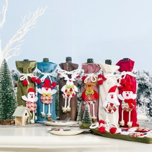 Drawstring Decorative Wine Bottle Covers Treat Bags With Cute Doll Christmas