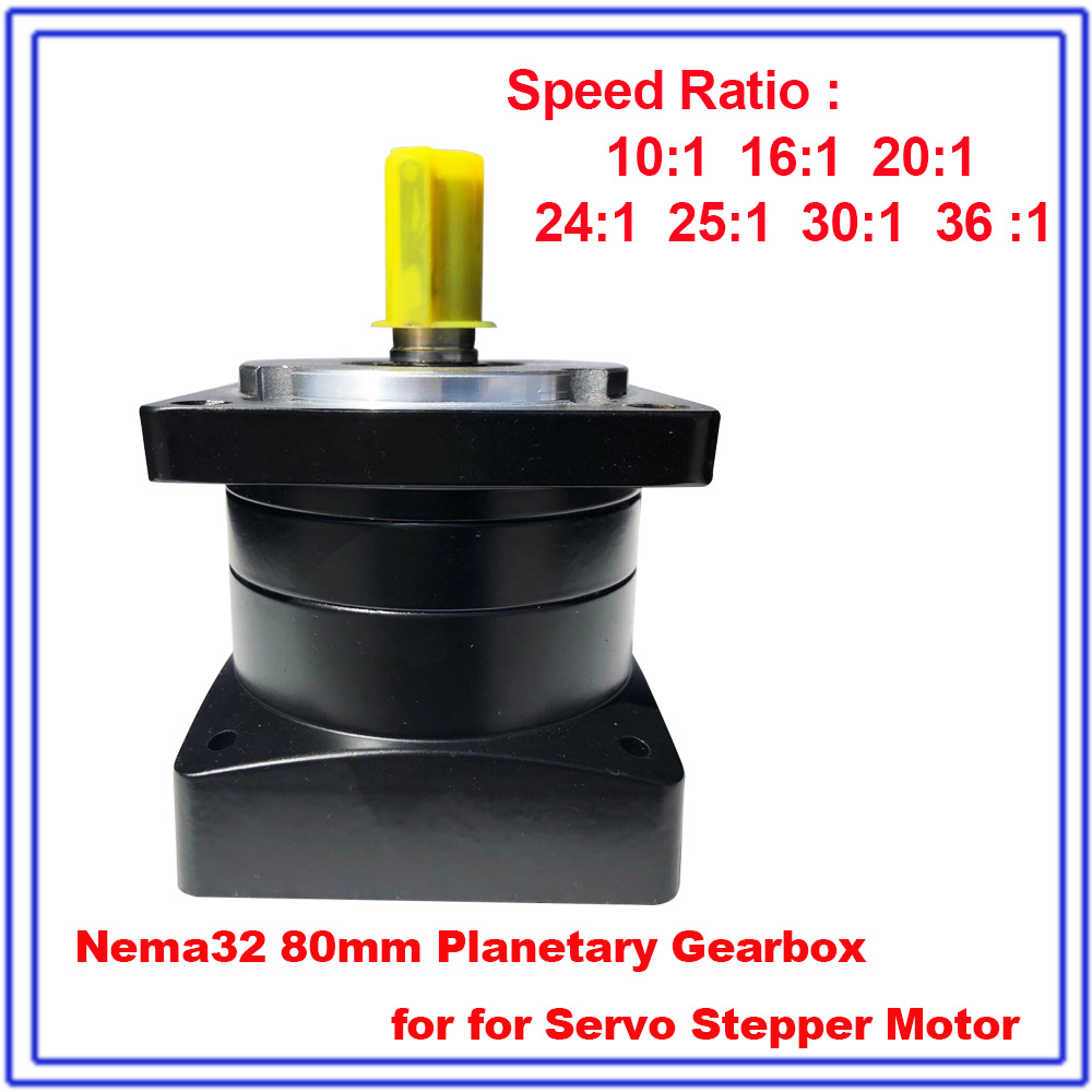 Fevas Planetary Gearbox Ratio 4:1 Nema24 60mm Speed Reducer 3000rpm Shaft 14mm Carbon Steel Gear for 200W 400W 600W Servo Motor