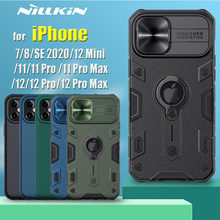 for Apple iPhone 12 11 Pro Max 12 Mini Case 8 7 SE 2020 Capa Nillkin Armor Impact Slide Camera Lens Protection Ring Holder Cover