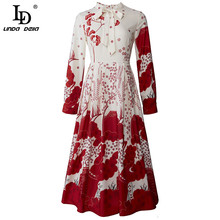 Midi Dress Flower-Print Long-Sleeve Vestoidos Elegant Vintage Women Female Summer LINDA