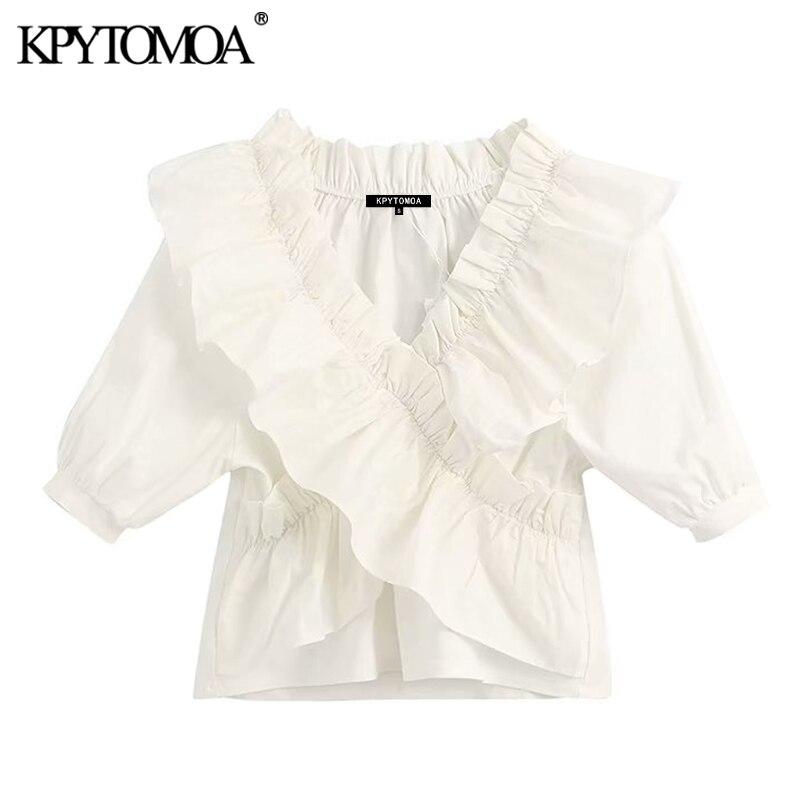 KPYTOMOA Women 2020 Sweet Fashion Ruffled White Blouses Vintage V Neck Short Sleeve Stretch Female Shirts Blusas Chic Tops