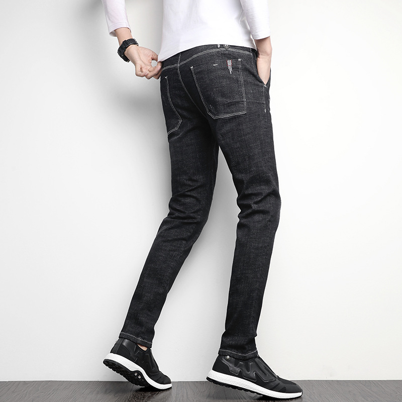 Jeans Black And White With Pattern Slim Fit Korean-style Trend Casual Elasticity Youth Washing Trousers