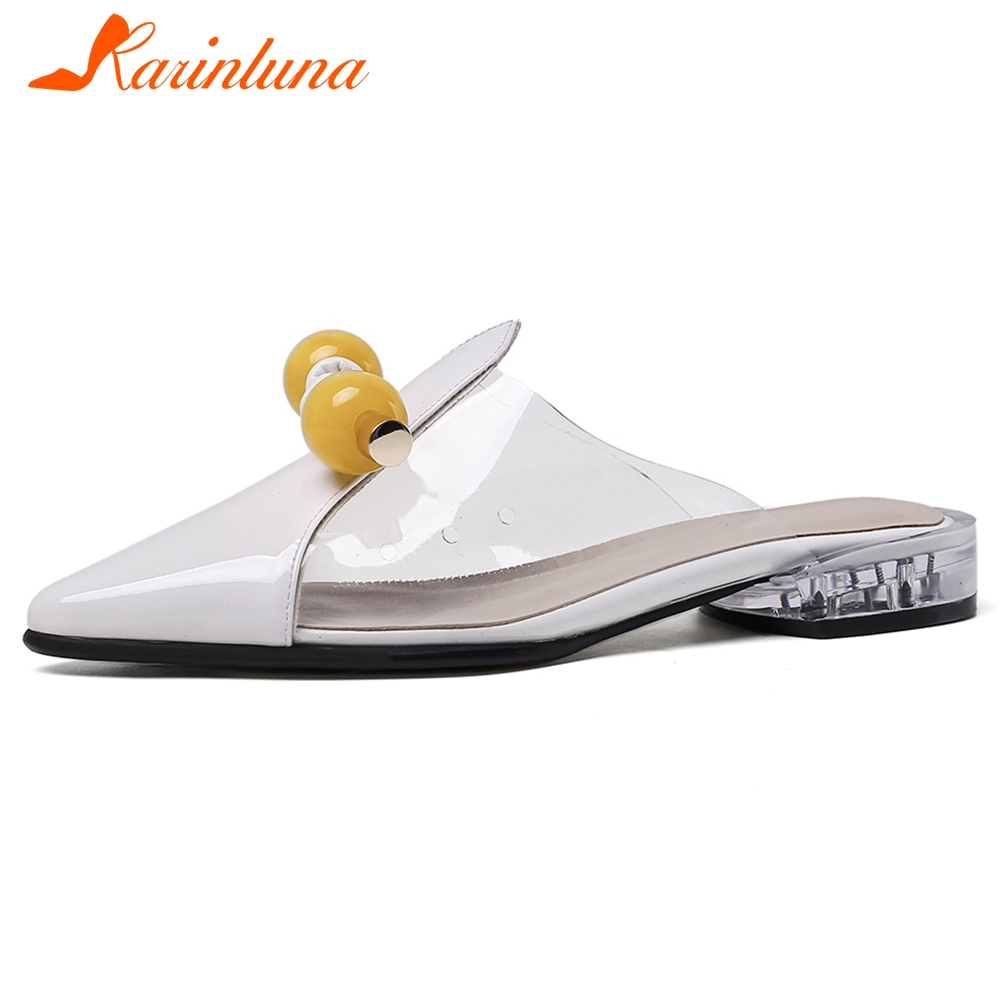 Karinluna 2020 New Fashion Genuine Cow Leather Summer Shoes Woman Pumps Mules Slip On Pointed Toe Casual Pumps Women Shoes
