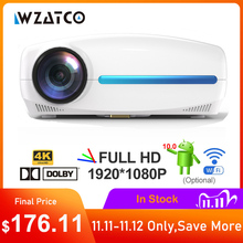 WZATCO C2 4K كامل HD 1080P جهاز عرض (بروجكتور) ليد الروبوت 10 واي فاي الذكية المسرح المنزلي AC3 200 بوصة فيديو Proyector مع 4D الرقمية keyston