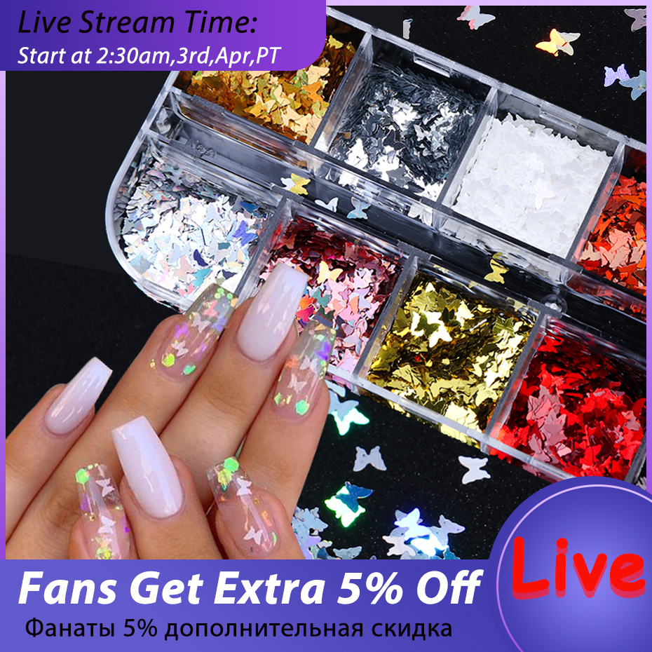 Mirror Sparkly Butterfly Nail Sequins Paillette Mixed Colors Nail Holographic Glitter 3D Flakes Slices Art Accessories BE1558