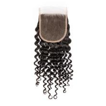 Eseewigs Women's Toupee Deep Curly Lace Closure Free Part 4x4 Toupee For Women Virgin Human Hair Swiss Lace Closure Toupee